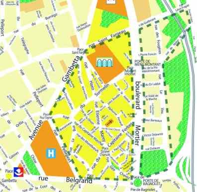 Quartier vert Porte de Ménilmontant (limite en pointillés vert)